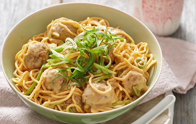 Indonesian Satay Pork Meatballs and Noodles