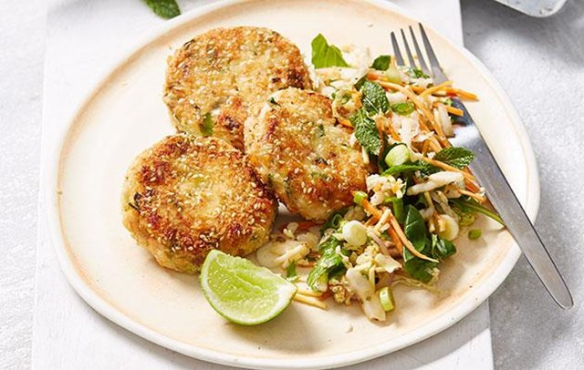 Fresh Salmon Ginger Patties with Asian Salad