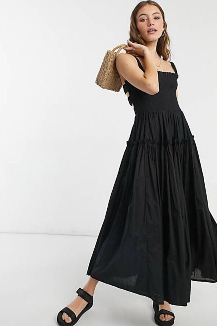 asos black camisole midi summer dress