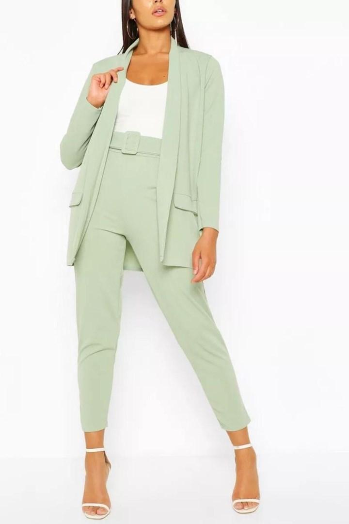 green blazer pantsuit