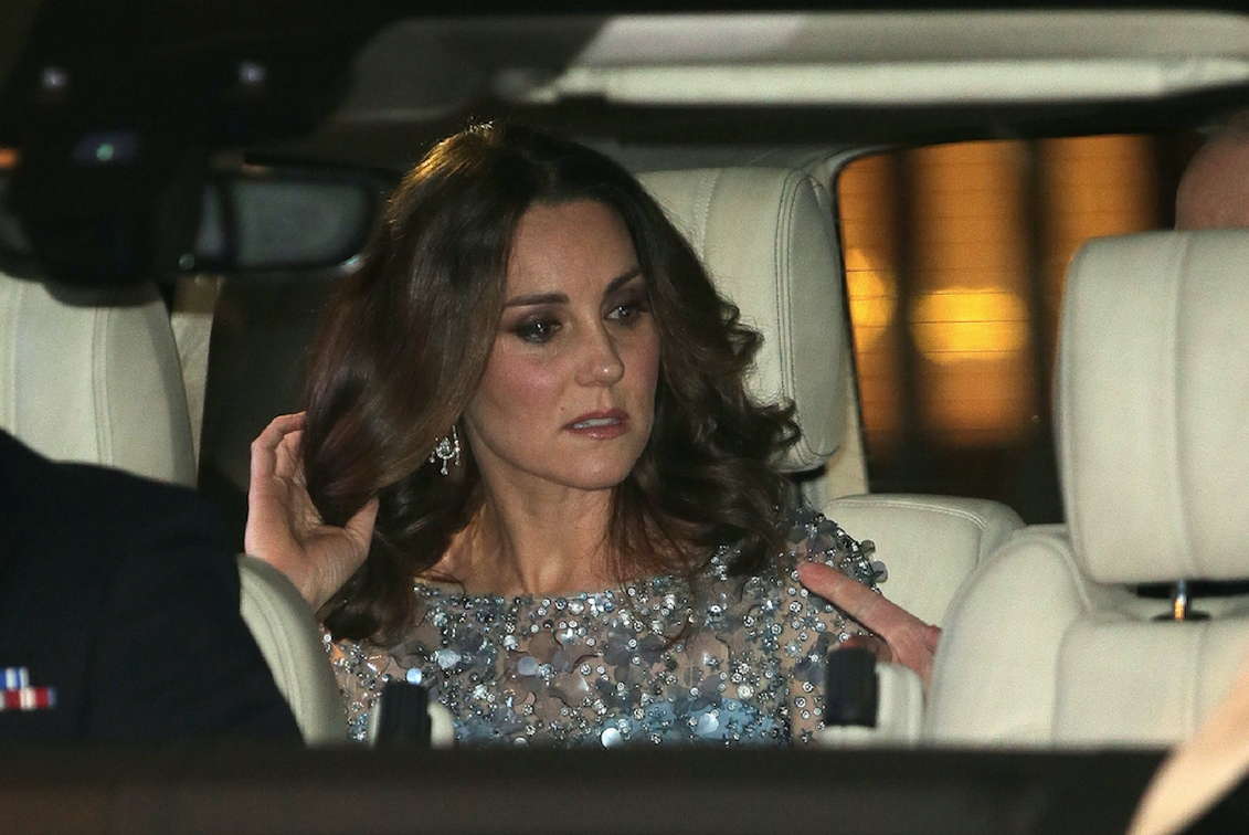 Kate glitters in blue Jenny Packham at Royal Variety Show