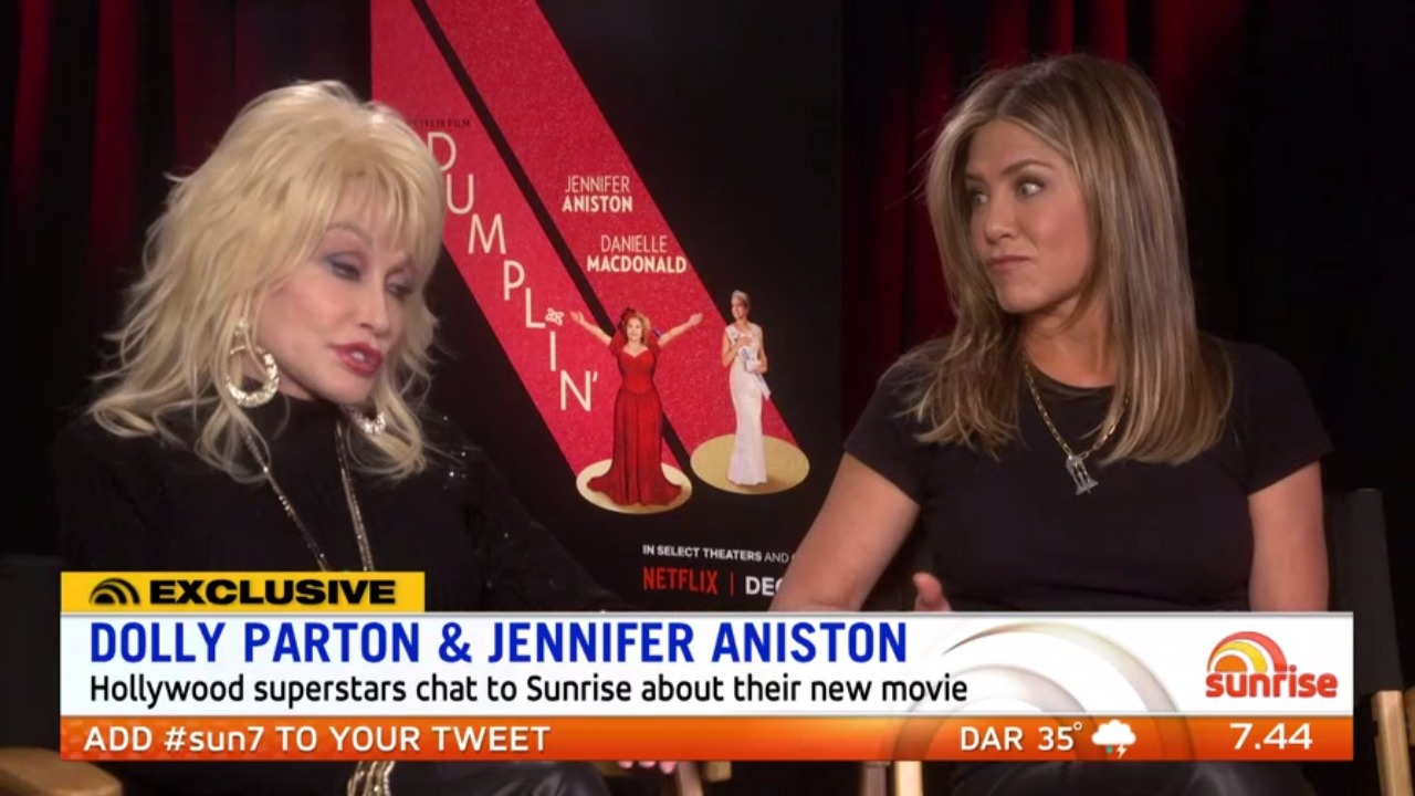 Dolly Parton and Jennifer Aniston chat to Sunrise about new movie 'Dumplin'