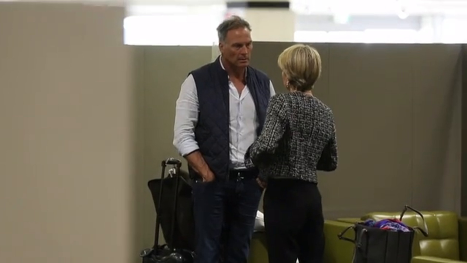 WATCH: Smiling Julie Bishop and David Panton jet out for Karl Stefanovic's wedding
