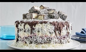 Impressive Lamington Ice Cream Cake Made of Woolworths' Products
