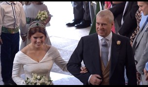 Sweet moment Prince Andrew walks Eugenie down the aisle