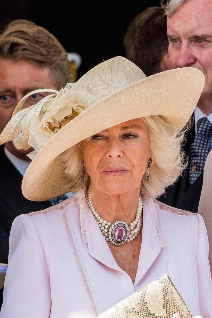 PICS: 'Grumpy' Camilla 'has a face that could sour milk' at Garter Day