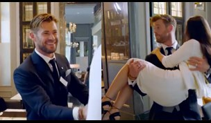 James Corden and Chris Hemsworth compete in EPIC waiter showdown