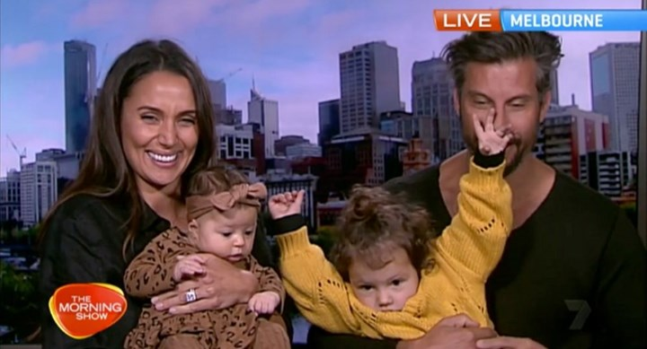 Sam and Snezana Wood reveal their baby on TV