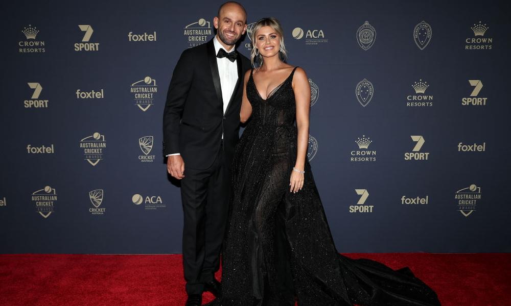 Nathan Lyon and Emma McCarthy step out at the Australian Cricket Awards