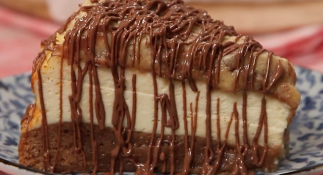 Triple-layer brownie cookie dough cheesecake