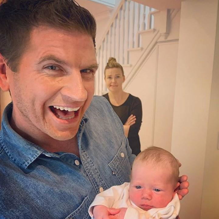 SO CUTE: Sam Mac's sweet moment with Edwina Batholomew's baby